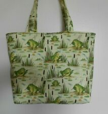 Handmade Fishing Frogs Cat Tails Dragon Flies Tote Purse Bag