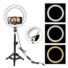 "10"" LED Ring Light with Stand Dimmable LED Lighting Kit For Makeup UK Seller"