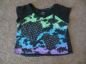 JUSTICE girls SHIRT size 18 black hearts tie dye short sleeve