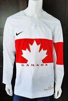 Men Nike 2014 Team Canada White Sochi Olympic Jersey  Real Crests sz Medium