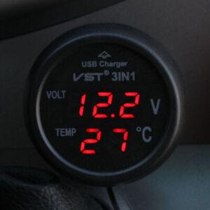 Auto-Zigarettenanzünder-Buchse mit USB-Anschluss/Voltmeter/Thermometer für Auto