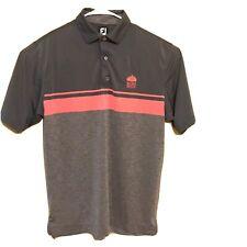 Footjoy Fj Mens Size Medium Gray & Pink Striped Golf Polo Shirt Embroidered