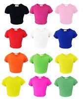 Girls Kids Plain Crop Top Short Sleeve T Shirt Stretch Fit Teen Tops 5-13 years