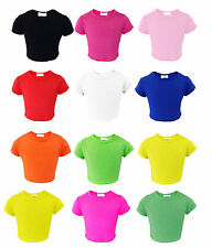Girls Plain Crop Top Kids Short  Sleeve T Shirt Stretch Fit Teen Tops 5-13 year