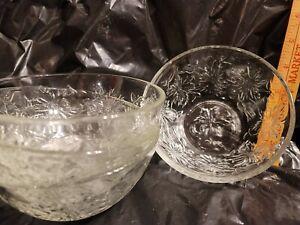 Princess House Fantasia Soup/Cereal/Salad Bowls Set Of 4 Poinsettia 5 1/4 Clear