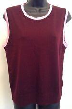 J. CREW Women's Sz XL Burgundy Pink Sleeveless Thin Knit Sheer Vest Blouse O3