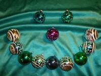 ~ 12 alte Christbaumkugeln Glas bunt silber Ornamente Tupfen Christbaumschmuck ~