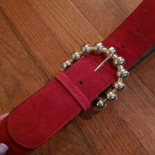 Vintage Omega Ladies Red Belt Genuine Suede Size S