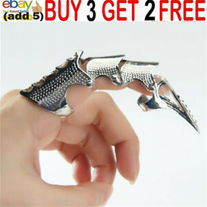 Fashion Punk Rock Goth Knuckle Armour Joint Full Finger Ring Claw Tip Unisex aa