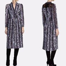 ec82b16b62 KAREN MILLEN Lace SNAKE PRINT Pleat Midi Shirt DRESS 12 UK Office Occasion  Party