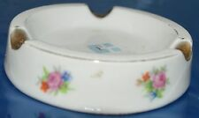 """Vintage Round Limoges France Gold Trim and Flowers Ashtray H.T. France 4"""""""