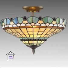 PEACOCK TIFFANY STYLE GLASS SEMI FLUSH CEILING LIGHT ( STUNNING QUALITY )