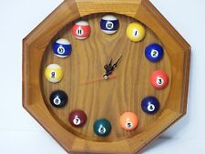 Home Wall Pool Billiard Clock Wooden Pool Balls Decor Octagon Battery Operated