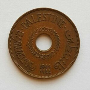 Palestine British Mandate Bronze Coin Israel 20 Mils Mil 1944 Original VF WW2