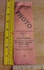 1968 USC vs California court Basketball press pass ribbon vintage Los Angeles