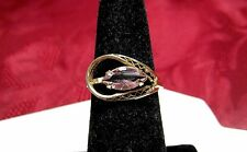 12K GOLD FILLED MARQUISE PURPLE SIMULATED AMETHYST IN FILIGREE RING SIZE 6.5