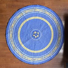"French Blue & Yellow Table Topper Quilt 68"" Round Hand Made Quilt Cotton"