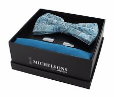 Teal Paisley Bow Tie, Plain Pocket Square & Cufflink Gift Set