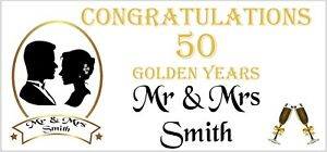 2 PERSONALISED 50th Golden Wedding Anniversary Banners Party Decorations 003