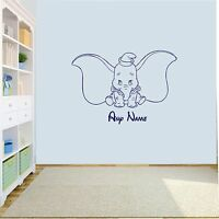 Personalised Dumbo Elephant  Wall Art Decal Sticker Girls/Boys Nursery bedroom