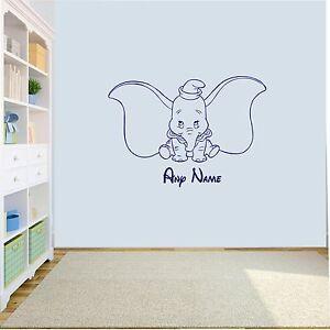 Personalised Dumbo Elephant  Wall Art Decal Sticker Girls/Boys Nursery bedroom
