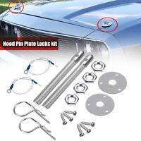 Car Engine Racing Style Mount Hood Pins Plate Bonnet Lock Set Kit Universal