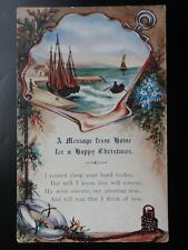 Greetings: A Message from home for a HAPPY CHRISTMAS - Old Postcard