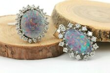Diamant Opal Gold Schmuck Set Anhänger Ring 36 Diamanten 0,78ct VS1 H 8,62g