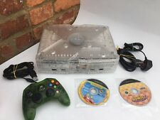 XBOX ORIGINAL CRYSTAL CONSOLE WITH CONTROLLER AND CABLES BUNDLE - WORKING