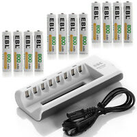 12x AAA 800mAh NIMH Rechargeable Batteries + 8-channel AA AAA Battery Charger