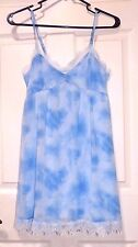 New Women's Size Small Hollister Blue White Clouds Lace Detail Tank Top