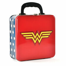 SQUARE EMBOSSED WONDER WOMAN LOGO TIN TOTE METAL LUNCH BOX STORAGE DC COMICS