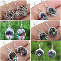 MYSTIC QUARTZ 925 STERLING SILVER HANDMADE JEWELRY EARRING INDEPENDENCE DAY GIFT