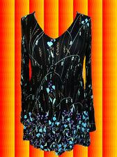 G274 Indian Hippie Spirit Gipsy Tunika Hängerchen Shirt Boho schwarz bunt Gr. S