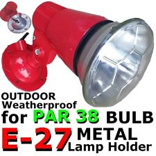 E-27 RED METAL lamp holder ES ADJUSTABLE weatherproof PAR 38 spotlight Bulb DIY