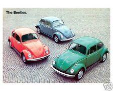 1971 Volkswagen BEETLE, VW, BUG, 3 Cars, Red/Blue/GR Refrigerator Magnet, 40 MIL