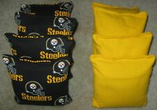 8 WASHABLE Resin 4 Steelers 4 Yellow Cornhole Toss Bags  DURABLE! EXTRA NICE!