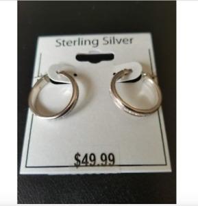 925 Sterling Silver Glitter Hoop Earrings 20mm Glitter