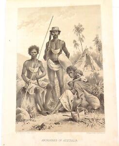 .A 100% GENUINE 1879 HISTORY of AUSTRALASIA LITHOGRAPH. ABORIGINES of AUSTRALIA