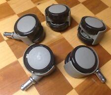 New Dental Stool Caster Wheel Set Gray for Hard Floors 5 Pack