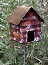 Miniature Dollhouse FAIRY GARDEN ~ Vintage Style Rustic Brown Birdhouse Pick NEW