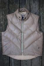 VTG 80s Goose Country Down Leather Sleeveles Jacket Vest 38 Hip Hop V Stitch M S