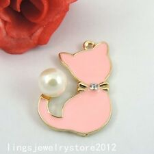 39233 Gold Tone Oil Drip Alloy Cute Pink Cat Pendant Charms 6PCS
