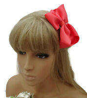 Pretty Spotty Ribbon Bow Hair Clip Grip in Pink on Forked Hair Grip 11 cims