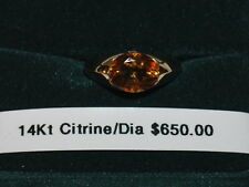 14K Gold Ring with Citrine Gemstone (November Birthstone) and small diamonds