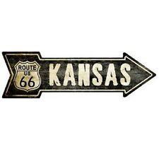 "Outdoor Decor Vintage Route 66 Kansas Novelty Metal Arrow Sign 5"" x 17"""