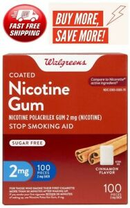Walgreens Nicotine Gum 2 Mg 100 Count Cinnamon flavor Compared to Nicorette