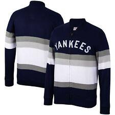 New York Yankees Mitchell & Ness Front Stripe Full-Zip Sweater - Navy