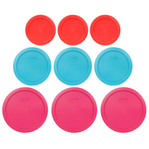 Pyrex Replacement Lids (3) 7200-PC Red (3) 7201-PC Surf Blue (3) 7402-PC Fuchsia