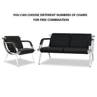 Waiting Room Chair PU Leather Office Reception Airport Bank Bench Visitor Guest